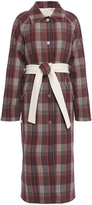 GOEN.J Reversible Belted Checked Cotton-twill Coat