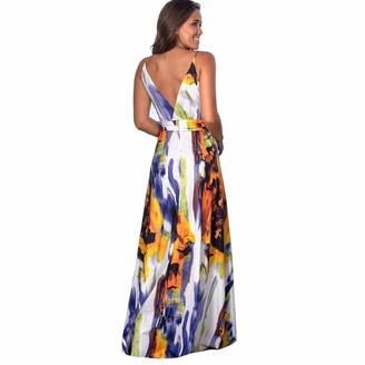 Fhxr Vintage Fancy Party Dress Summer A-Line Swing Cocktail Dress (Color : Blue Size : 2XL)