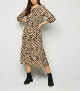 New Look Leopard Print Tiered Smock Midi Dress