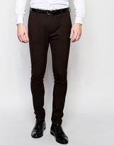 Asos Super Skinny Suit Trousers In Brown