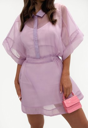 Missguided Lilac Organza Skater Shirt Dress