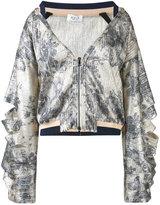 Aviu printed open collar bomber jacket - women - Cotton/Polyamide/Polyester/Spandex/Elastane - 42