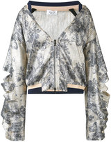 Aviu printed open collar bomber jacket - women - Polyester/Polyamide/Cotton/Spandex/Elastane - 42