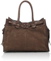Zagliani Women's Python-Trimmed Gatsby Large Tote-Brown