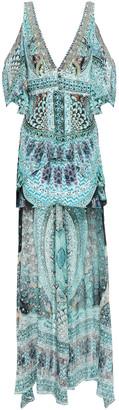 Camilla Asymmetric Cold-shoulder Printed Fil Coupe Silk Peplum Top