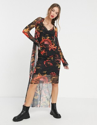Hope & Ivy 90s slip and duster set in black floral