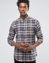 Ps By Paul Smith Paul Smith Shirt In Check Tailored Slim Fit Navy Orange