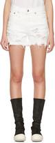 R 13 White Shredded Denim Slouch Shorts