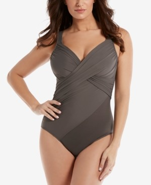 Miraclesuit Rock Solid Revele Twist-Front Allover Slimming Underwire One-Piece Swimsuit Women's Swimsuit