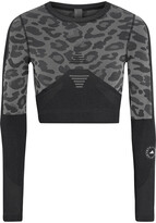 Thumbnail for your product : adidas by Stella McCartney Cropped Printed Stretch-jacquard Top