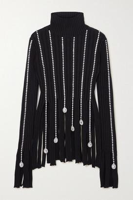 Area Crystal-embellished Ribbed Cotton-blend Turtleneck Sweater - Black