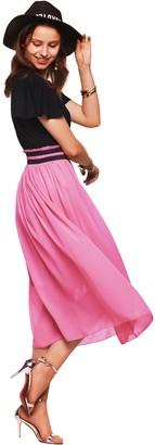 Amoretu Womens Summer Casual Elegant High Waist Fit Flare Midi Dress(Pink XL)