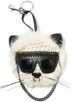 Stella McCartney Falabella Appliquéd Faux Fur Keychain - White