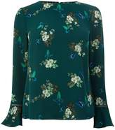 Oasis Tropical Butterfly Flute Sleeve Top