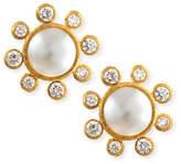 Elizabeth Locke Akoya Pearl & Diamond Stud Earrings