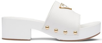 Prada Logo Plaque Clog Sandals