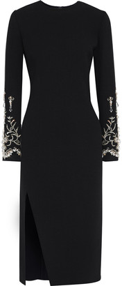 Oscar de la Renta Embellished Wool-blend Crepe Dress