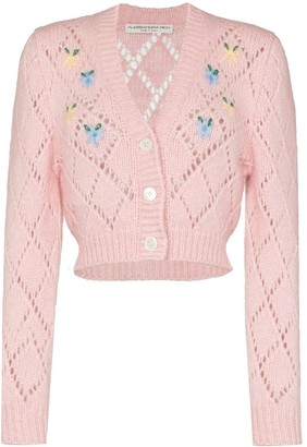 Alessandra Rich Floral-Embroidered Cropped Cardigan