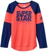 """adidas Girls 4-6x Foil """"Superstar"""" High-Low Raglan Tee"""