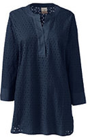 Classic Women's 3/4 Sleeve Eyelet Popover Top-Pale Surf Gray