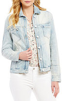 William Rast Floral Embroidered Boyfriend Denim Jacket
