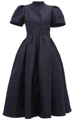Alexander McQueen Puffed Sleeve Silk Faille Dress - Womens - Navy