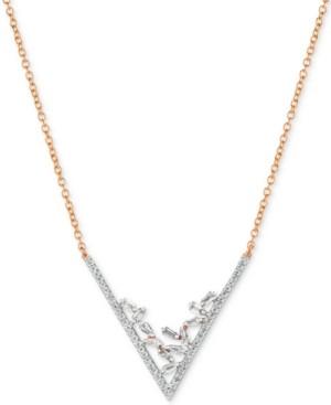 "LeVian Le Vian Baguette Frenzy Diamond V 18"" Statement Necklace (3/8 ct. t.w.) in 14k Rose Gold"