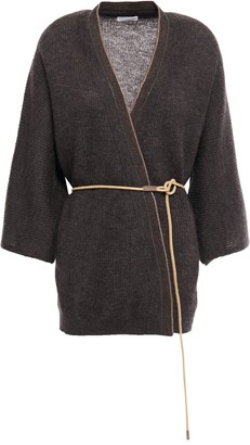 Brunello Cucinelli Belted Bead-embellished Melange Knitted Cardigan