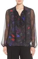 Elie Tahari Women's Renata Ruffle Floral Silk Blouse