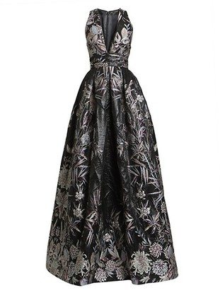 ZUHAIR MURAD Japanese Garden V-Neck Ball Gown