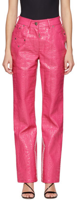 Saks Potts Pink Croc Faux-Leather Latin Pants