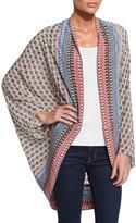 Tolani Beatrice Mixed-Print Silk Kimono, Cream