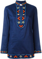 Tory Burch embroidered open neck top - women - Cotton - 8