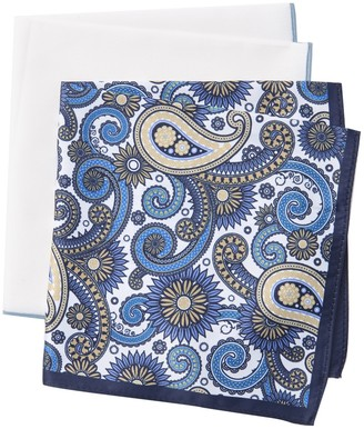 Nordstrom Rack Silas Paisley & Solid Pocket Squares - Pack of 2