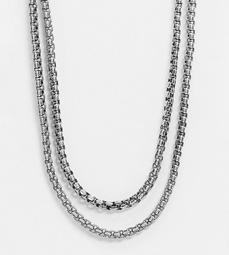 Reclaimed Vintage inspired double layered chunky neckchain in burnished silver