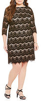 Jessica Howard Plus 3/4 Sleeve Lace Sheath Dress