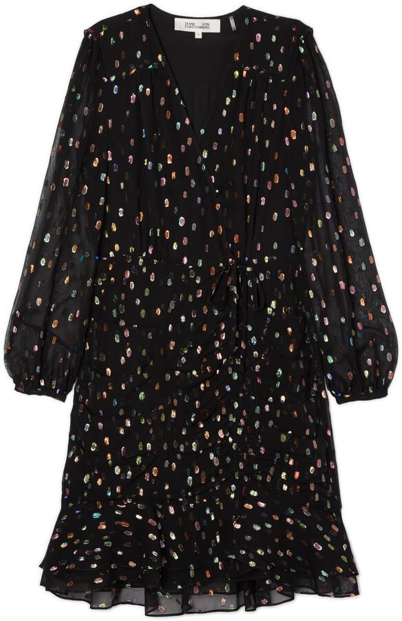 Thumbnail for your product : Diane von Furstenberg Bea Metallic Ruched Flounce Mini Dress