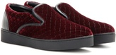 Bottega Veneta Embroidered Velvet Slip-on Sneakers