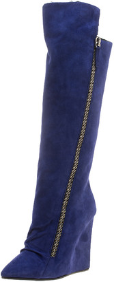 Giuseppe Zanotti Blue Suede Guaz Fur Lined Wedge Knee Boots Size 38