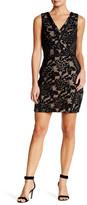 Greylin V-Neck Embroidered Knit Lace Dress