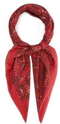 Acne Studios Violett Paisley-print Cotton-blend Poplin Scarf - Womens - Red