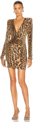 Alexandre Vauthier Leopard Ruched Mini Dress in Natural | FWRD