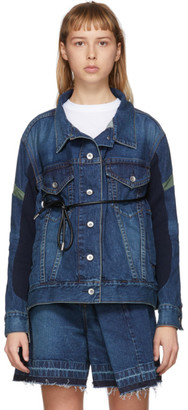 Sacai Blue Belted Panelled Denim Jacket