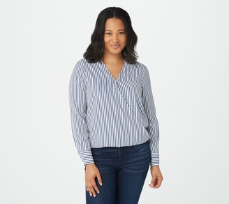 Bishop + Young Twist Front Striped Blouse