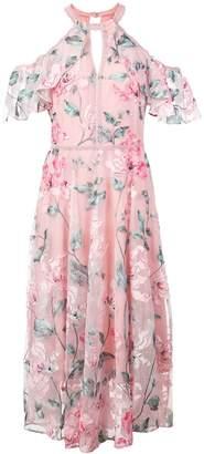 Marchesa cold shoulder floral dress