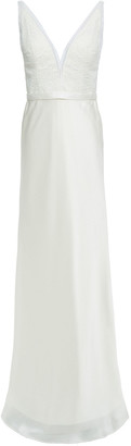 Catherine Deane Mandy Lace-paneled Satin Gown