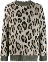 R 13 leopard print chewed sweater