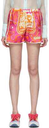 Emilio Pucci Orange and Pink Tiki Print Shorts