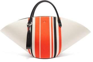 Jil Sander Leather Trim Canvas Tote Bag - Womens - Red Multi