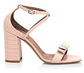 Tabitha Simmons Women's Hudson Croc-Embossed Leather Block-Heel Sandals